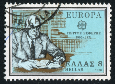 GREECE - CIRCA 1980: stamp printed by Greece, shows Georges Seferis, writer and diplomat, circa 1980 Stock Photo - 14755662