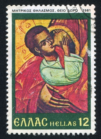GREECE - CIRCA 1981: stamp printed by Greece, shows Promotion of Breastfeeding, circa 1981 Stock Photo - 14755677