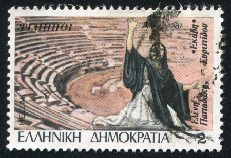 ravage: GREECE - CIRCA 1987: stamp printed by Greece, shows Eleni Papadaki in Hecuba by Eurepides, and outdoor theater, Philippi, circa 1987