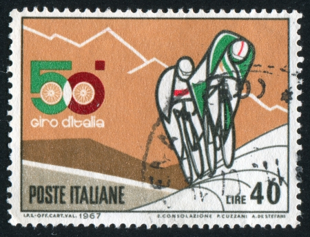 ITALY - CIRCA 1967: stamp printed by Italy, shows Three bicyclists on the road, circa 1967