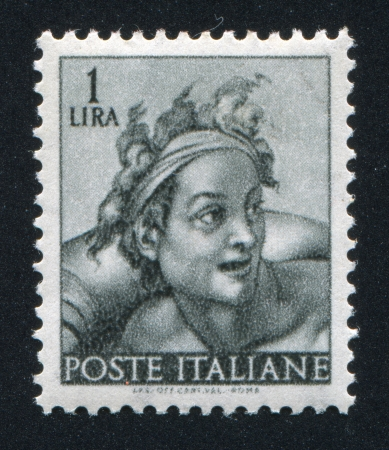 ITALY - CIRCA 1961: stamp printed by Italy, shows Designs from Sistine Chapel by Michelangelo, Slave, circa 1961