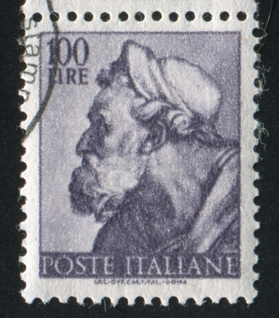ITALY - CIRCA 1961: stamp printed by Italy, shows Designs from Sistine Chapel by Michelangelo, Ezekiel, circa 1961 Stock Photo - 14755626