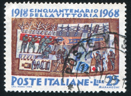 barblock: ITALY - CIRCA 1968: stamp printed by Italy, shows Trench war, circa 1968