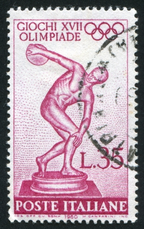 ITALY - CIRCA 1960: stamp printed by Italy, shows Statue of the Myron's Discobolus, circa 1960 Stock Photo - 14755667
