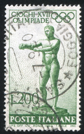 ITALY - CIRCA 1960: stamp printed by Italy, shows Statue of the Apoxyomenos by Lysippus, circa 1960 Stock Photo - 14755632