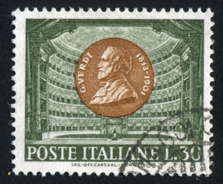 ITALY - CIRCA 1963: stamp printed by Italy, shows Giuseppe Verdi and La Scala, Milan, circa 1963