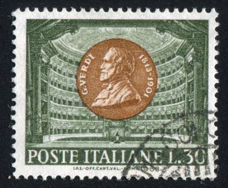 scala: ITALY - CIRCA 1963: stamp printed by Italy, shows Giuseppe Verdi and La Scala, Milan, circa 1963