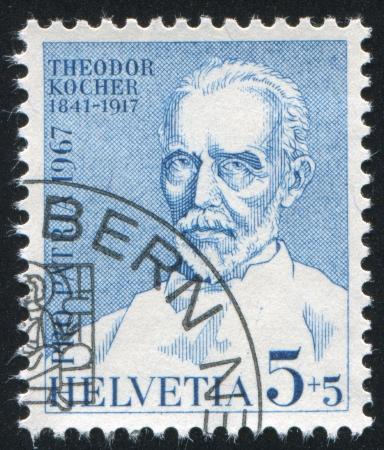 theodor: SWITZERLAND - CIRCA 1967: stamp printed by Switzerland, shows Dr. Theodor Kocher, circa 1967