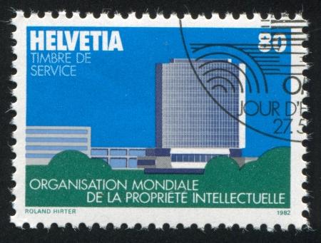 window seal: SWITZERLAND - CIRCA 1982: stamp printed by Switzerland, shows Headquarters, Geneva, circa 1982