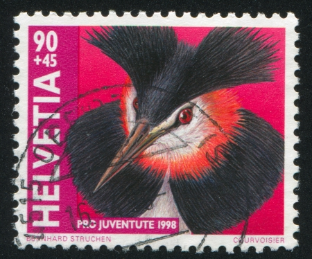 colouration: SWITZERLAND - CIRCA 1998: stamp printed by Switzerland, shows Great crested grebe, circa 1998