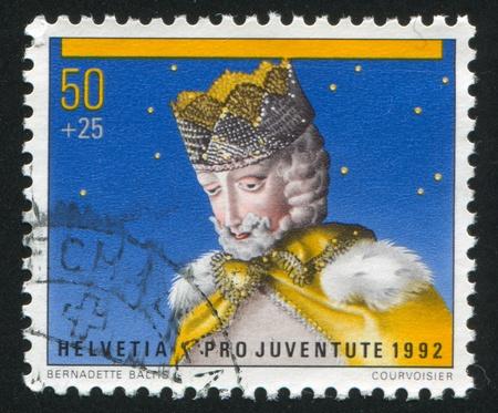 melchior: SWITZERLAND - CIRCA 1983: stamp printed by Switzerland, shows Wood Puppet of Melchior, circa 1983