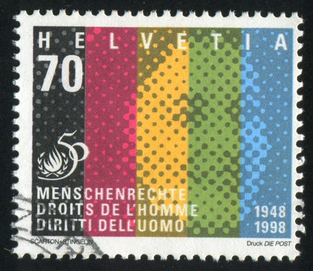 SWITZERLAND - CIRCA 1948: stamp printed by Switzerland, shows Human, Abstraction, circa 1948