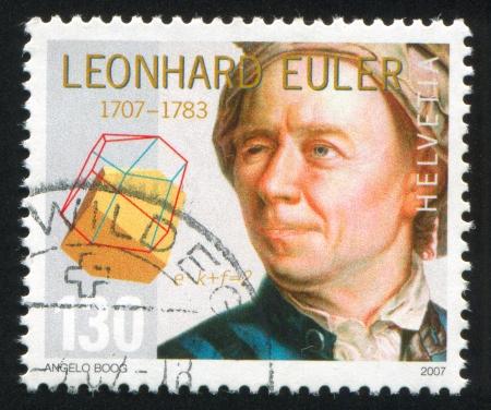 SCHWEIZ - CIRCA 2007: Stempel gedruckt von der Schweiz, zeigt Leonhard Euler, Mathematiker, circa 2007 Standard-Bild - 14755829