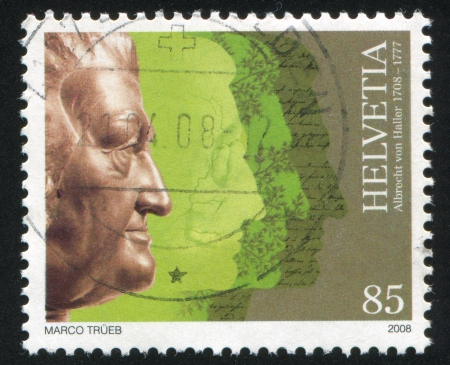 albrecht: SWITZERLAND - CIRCA 2008: stamp printed by Switzerland, shows Albrecht von Haller, Physiologist, circa 2008