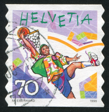 SWITZERLAND - CIRCA 1998: stamp printed by Switzerland, shows Street basketball,  circa 1998