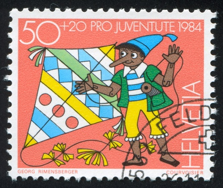 SWITZERLAND - CIRCA 1984: stamp printed by Switzerland, shows Pinocchio, circa 1984