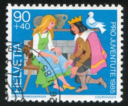 cinderella shoes: SWITZERLAND - CIRCA 1985: stamp printed by Switzerland, shows Cinderella,  circa 1985