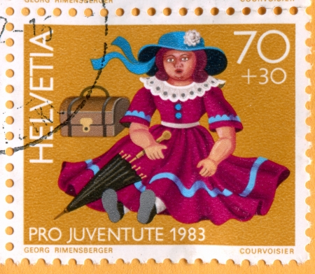SWITZERLAND - CIRCA 1983: stamp printed by Switzerland, shows Old toys, Doll, circa 1983
