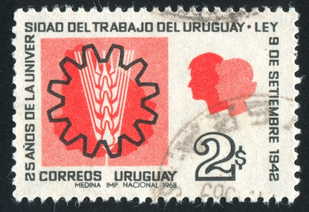 URUGUAY - CIRCA 1969: stamp printed by Uruguay, shows Gearwheel, Grain and Two Heads, circa 1969