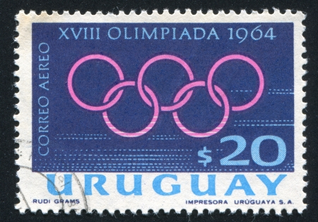 coubertin: URUGUAY - CIRCA 1965: stamp printed by Uruguay, shows Olympic Rings, circa 1965 Editorial
