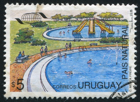 URUGUAY - CIRCA 1995: stamp printed by Uruguay, shows Water Recreation Park, circa 1995