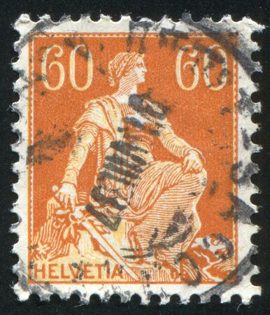 SWITZERLAND - CIRCA 1907: stamp printed by Switzerland, shows Helvetia, circa 1907.