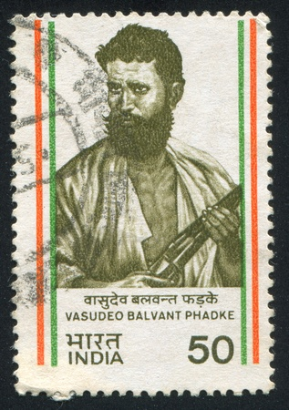 freedom fighter: INDIA - CIRCA 1984: stamp printed by India, shows Vasudeo Balvant Phadke, freedom fighter, circa 1984