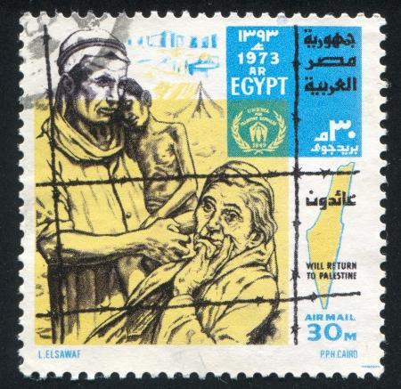 EGYPT - CIRCA 1973: stamp printed by Egypt, shows Map, desert, prisoners, circa 1973