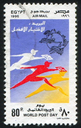 EGYPT - CIRCA 1996: stamp printed by Egypt, shows World post day emblem, circa 1996