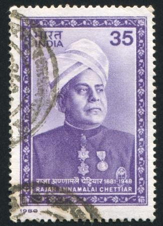 rajah: INDIA - CIRCA 1980: stamp printed by India, shows Rajah Annamalai Chettiar, Banker, Founder of Annamalai University, circa 1980 Editorial
