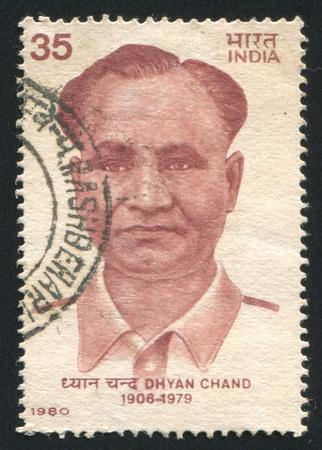 chand: INDIA - CIRCA 1980: sello impreso por la India, muestra Dhyan Chand, alrededor de 1980 Editorial