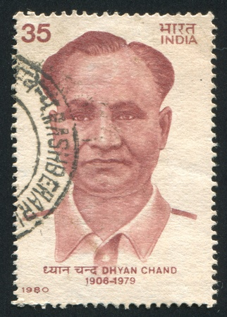 chand: INDIA - CIRCA 1980: stamp printed by India, shows Dhyan Chand, circa 1980