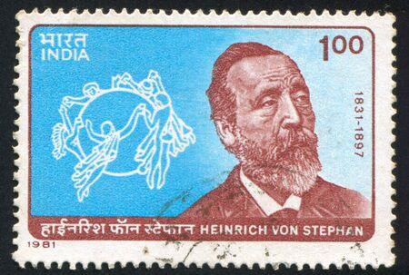 upu: INDIA - CIRCA 1981: stamp printed by India, shows Heinrich von Stephan and UPU Emblem, circa 1981