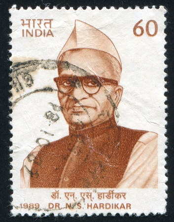 freedom fighter: INDIA - CIRCA 1989: stamp printed by India, shows N.S. Hardikar, Freedom Fighter, circa 1989