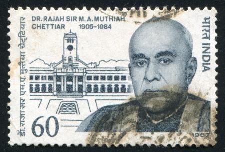 rajah: INDIA - CIRCA 1987: sello impreso por la India, muestra al Dr. Raja Sir MA Muthiah Chettiar, Pol�tico, Pro-rector de la Universidad Annamalai, alrededor del a�o 1987