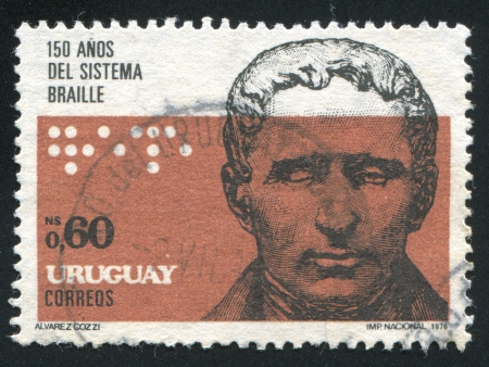 blind people: URUGUAY - CIRCA 1976: stamp printed by Uruguay, shows Portrait of Louis Braille, circa 1976