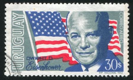 URUGUAY - CIRCA 1970: stamp printed by Uruguay, shows Dwight David Eisenhower, circa 1970
