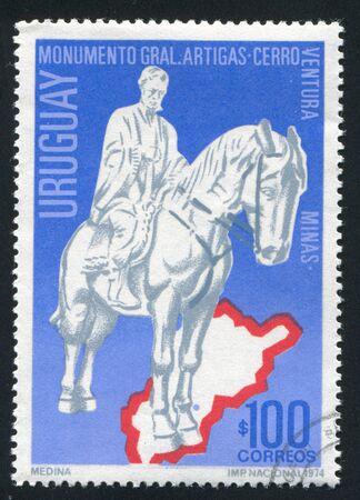 artigas: URUGUAY - CIRCA 1974: stamp printed by Uruguay, shows Artigas Statue and Map of Lavalleja, circa 1974