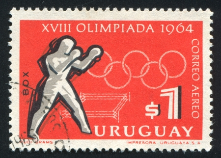 URUGUAY - CIRCA 1965: stamp printed by Uruguay, shows Boxing, Tokyo Olympic Games, circa 1965