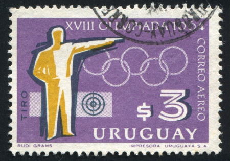 URUGUAY - CIRCA 1965: stamp printed by Uruguay, shows Shooting, Tokyo Olympic Games, circa 1965