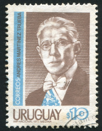 martinez: URUGUAY - CIRCA 1971: stamp printed by Uruguay, shows Andres Martinez Trueba, circa 1971