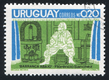 URUGUAY - CIRCA 1975: stamp printed by Uruguay, shows Play Barranca Abajo, by Florencio Sanchez, circa 1975