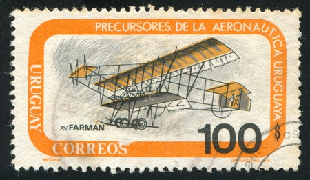 fixed wing aircraft: FINLAND - CIRCA 1974: stamp printed by Finland, shows Farman biplane, circa 1974