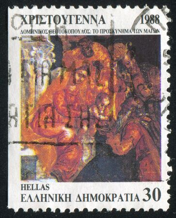 GREECE - CIRCA 1988: stamp printed by Greece, shows Christmas, circa 1988