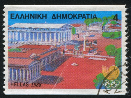 GREECE - CIRCA 1988: stamp printed by Greece, shows Ancient Olympia and Temple of Zeus, circa 1988