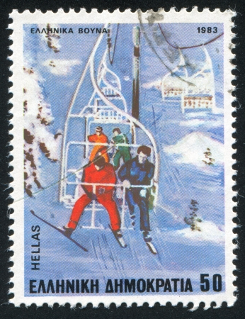 GREECE - CIRCA 1983: stamp printed by Greece, shows Skiers on chair-lift, circa 1983