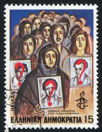 amnesty: GREECE - CIRCA 1982: stamp printed by Greece, shows Vigil, Amnesty International, circa 1982