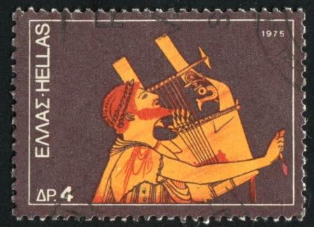 GREECE - CIRCA 1975: stamp printed by Greece, shows Guitarist, from amphora, circa 1975