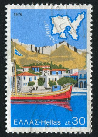 GREECE - CIRCA 1976: stamp printed by Greece, shows Map of the Lemnos, Sea port, circa 1976