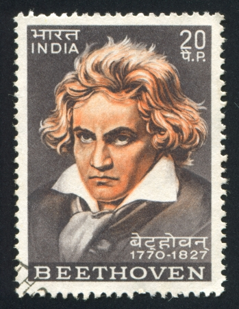 beethoven: INDIA - CIRCA 1970: stamp printed by India, shows Ludwig van Beethoven, circa 1970